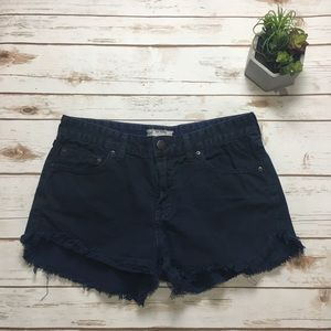 Free People navy blue distressed denim shorts